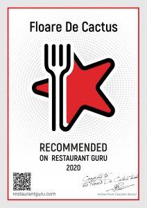 Certificat Restaurant Guru 2020